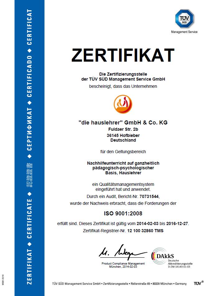 TÜV-Zertifizierung unseres Nachhilfe-Instituts| die hauslehrer
